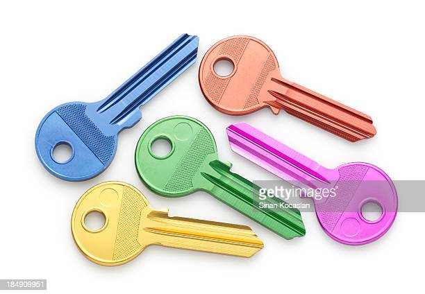 Various colored uncut house keys