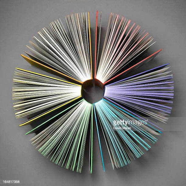 Various coloured books in a radial formation.