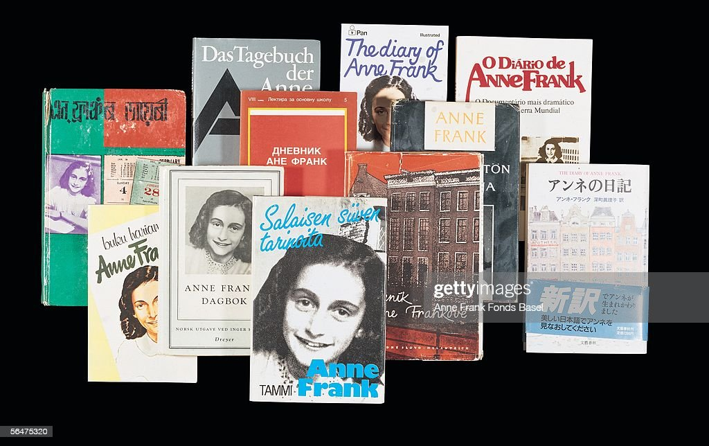 Various copies of The Diary of Anne Frank, which has been translated into many languages.