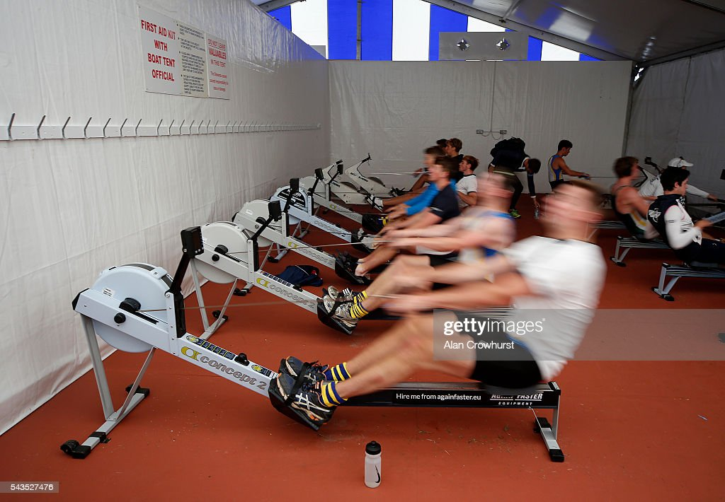 Various crew members on the rowing machines in the boat shed during the Henley Royal Regatta on June 29, 2016 in Henley-on-Thames, England.