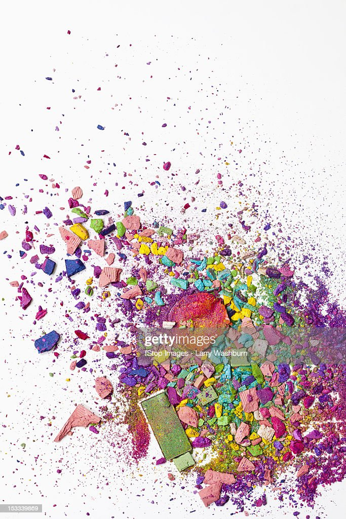 Various crushed up make-up powder products : Stock Photo