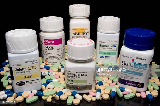 Various doses of bipolar treatments Geodon Paxil Seroquel Risperdal Abilify and Zoloft sit on a shelf for an illustration at Skenderian Apothecary in...