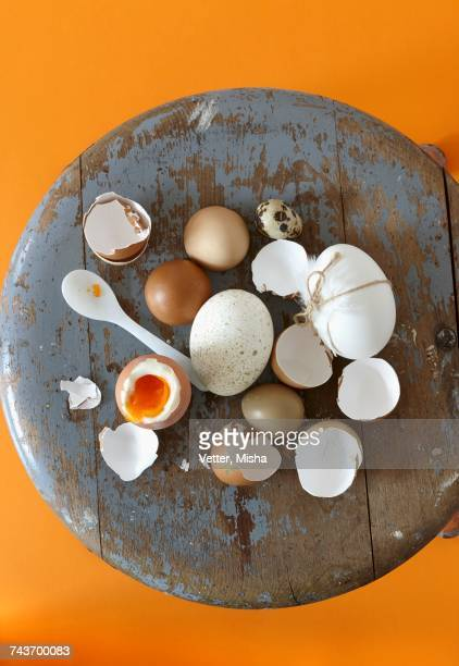 Various eggs, eggshells and a soft-boiled egg on the vintage stool
