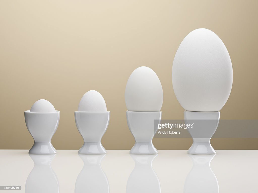 Various eggs in egg cups : Stock Photo