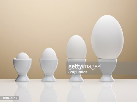 Various eggs in egg cups