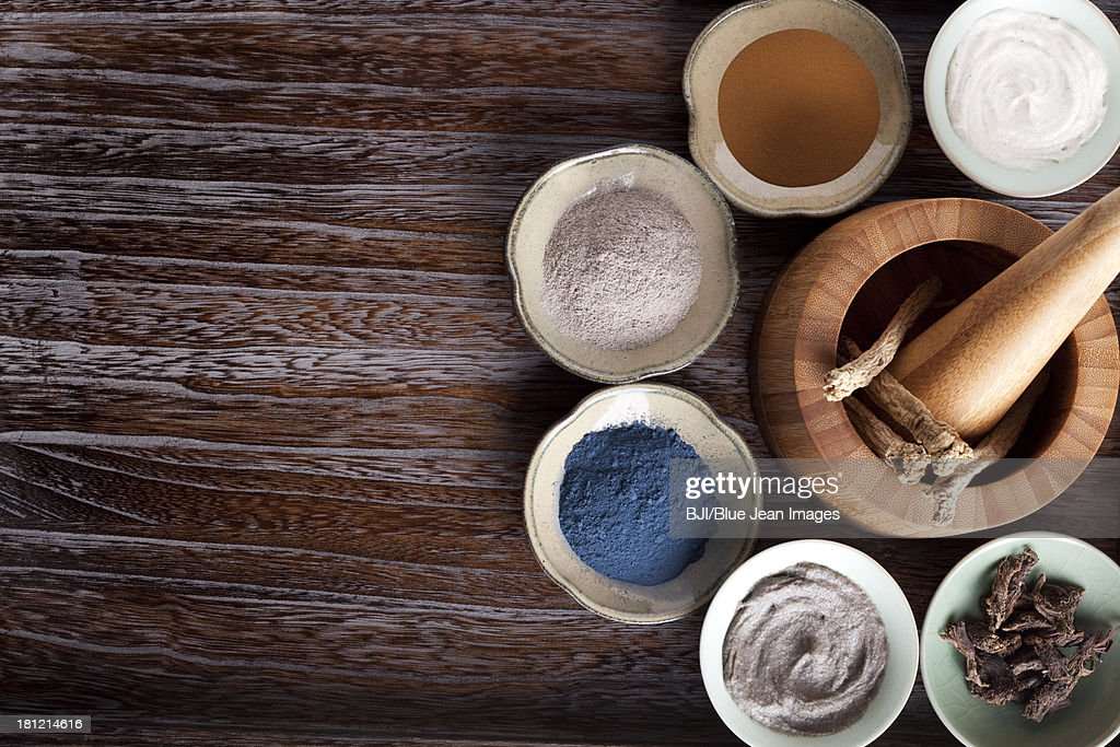 Various facial care products with Chinese herb medicine