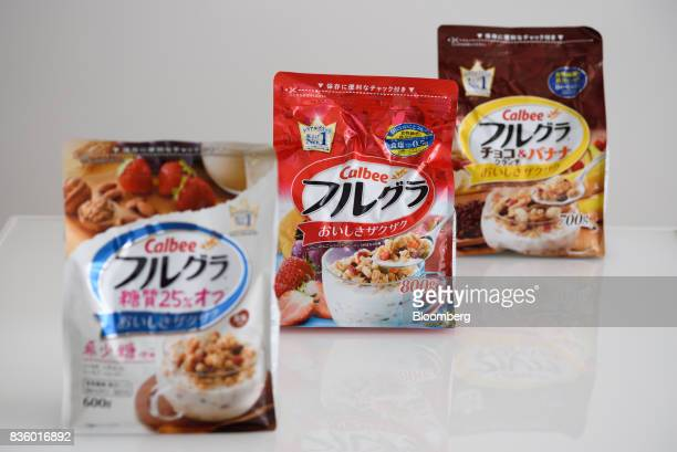 Various flavors of Calbee Inc Frugra branded cereal are arranged for a photograph in Tokyo Japan on Tuesday July 18 2017 Calbee's granola snack had...