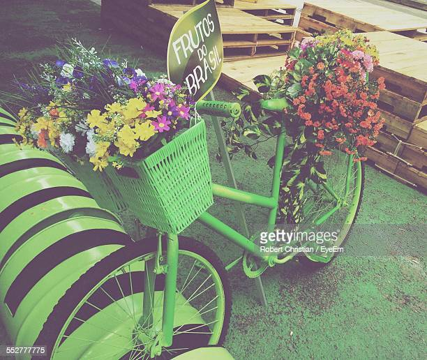 Various Flowers In Bicycle Basket Parked In Parking Lot