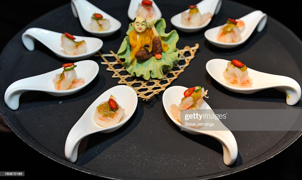 Various food dishes are served at the Exclusive Preview of the 2013 Vegas Uncork'd By Bon Appetit at One Kearny Street on February 6, 2013 in San Francisco, California.