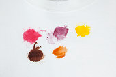 Various Food Stains on a White Cotton Sweatshirt