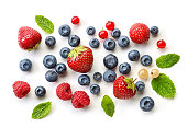 various fresh berries isolated on white background, top view