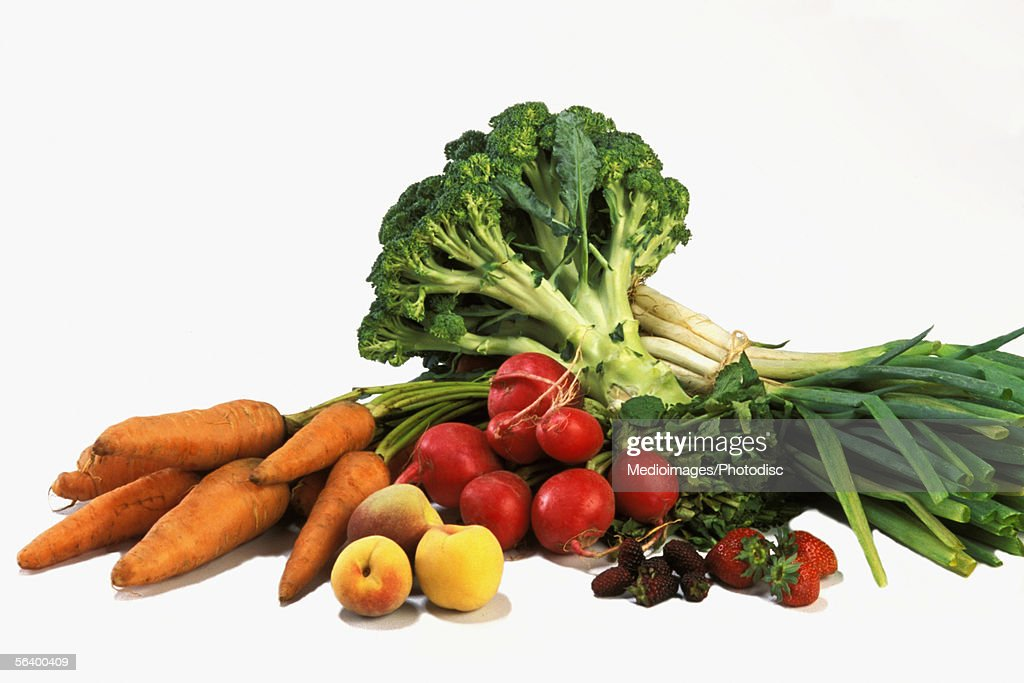 Various fruits and vegetables on counter : Stock Photo