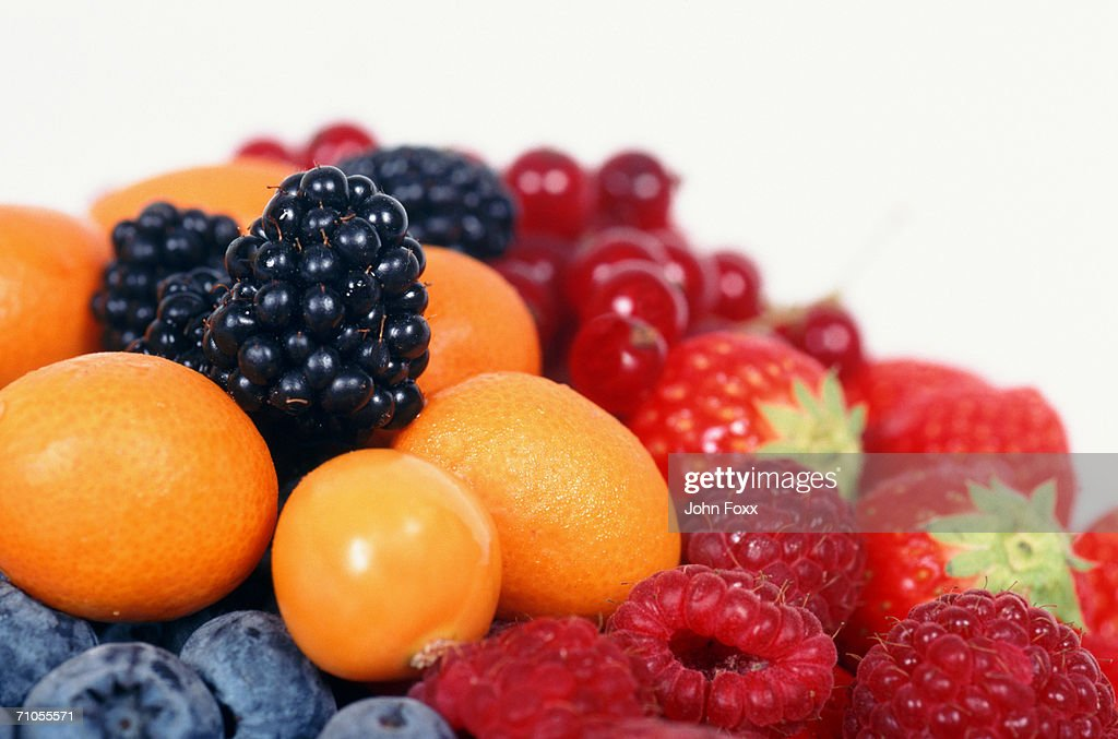 Various fruits on white background, close-up : Stock Photo