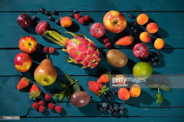 Various fruits on wood