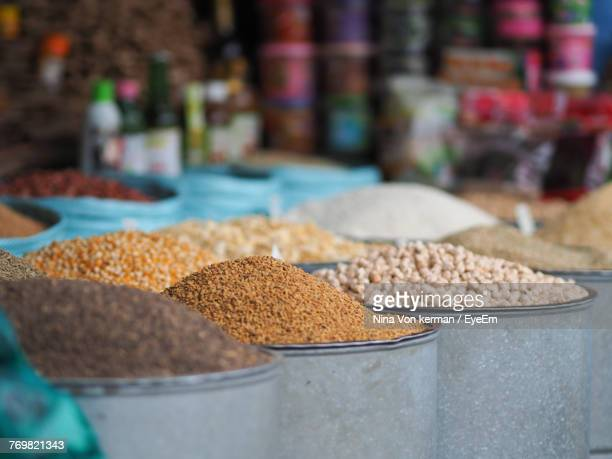 Various Grains For Sale At Market