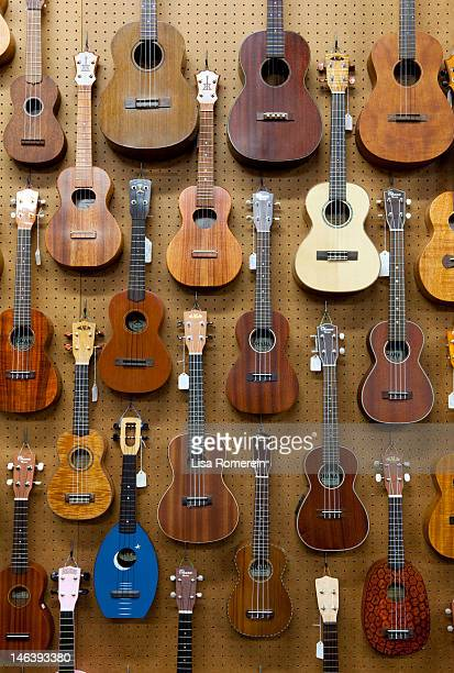 Various guitars & ukuleles hanging from wall
