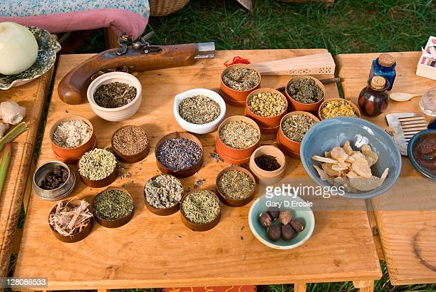 Various herbs and medicens on table at muster, Sudbury, Massachusetts, USA