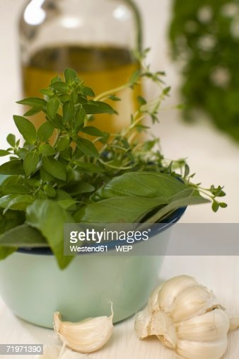 Various herbs in bowl, close-up : Stock Photo