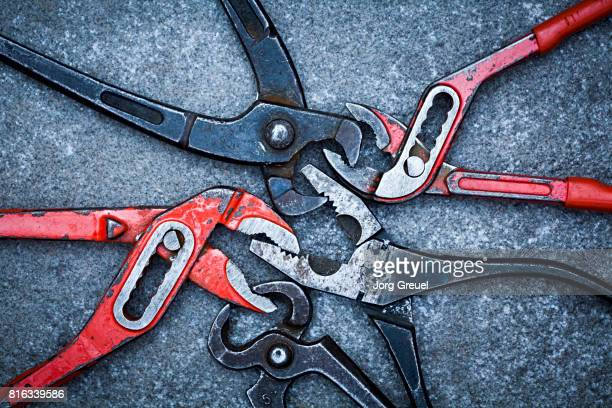 Various interlocked pliers