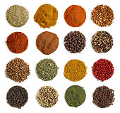 various kinds of spices on a white background