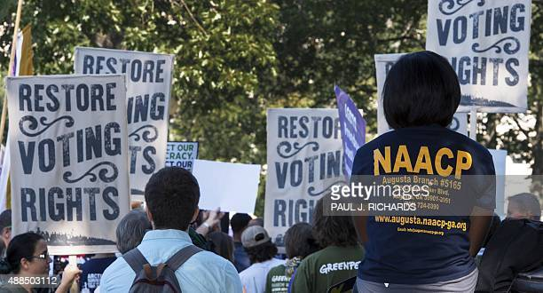 Various labor unions and progressive organizations protest on Capitol Hill September 16 calling for the restoration of the Voting Rights Act struck...