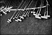 Various lengths of polo sticks during the 2022 goal tournament for the JaegerLeCoultre Gold Cup at Cowdray Park Polo Club on June 21 2016 in Midhurst...