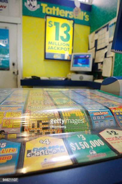 Various lottery tickets are displayed in the retail outlet at Tattersall's headquarters in Melbourne Australia Monday Aug 21 2006 Tattersall's Ltd...