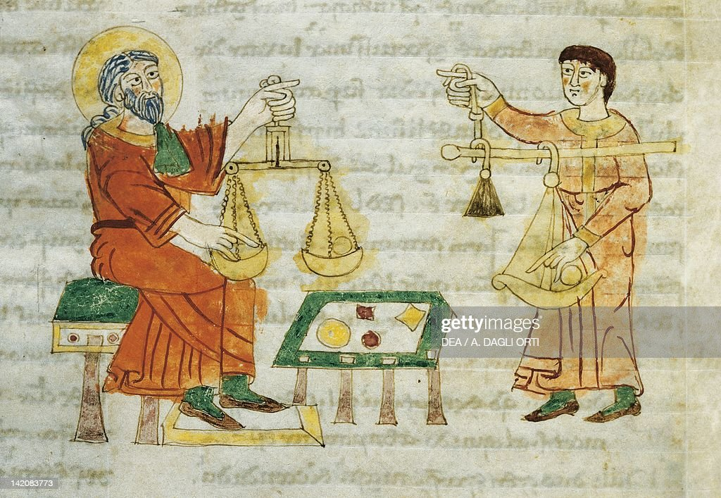 Various measures of weights miniature from De universo by Rabano Mauro manuscript Italy 11th Century