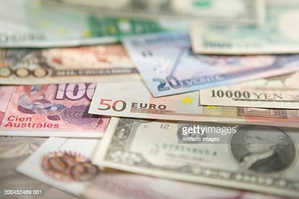 Various national currencies, close-up