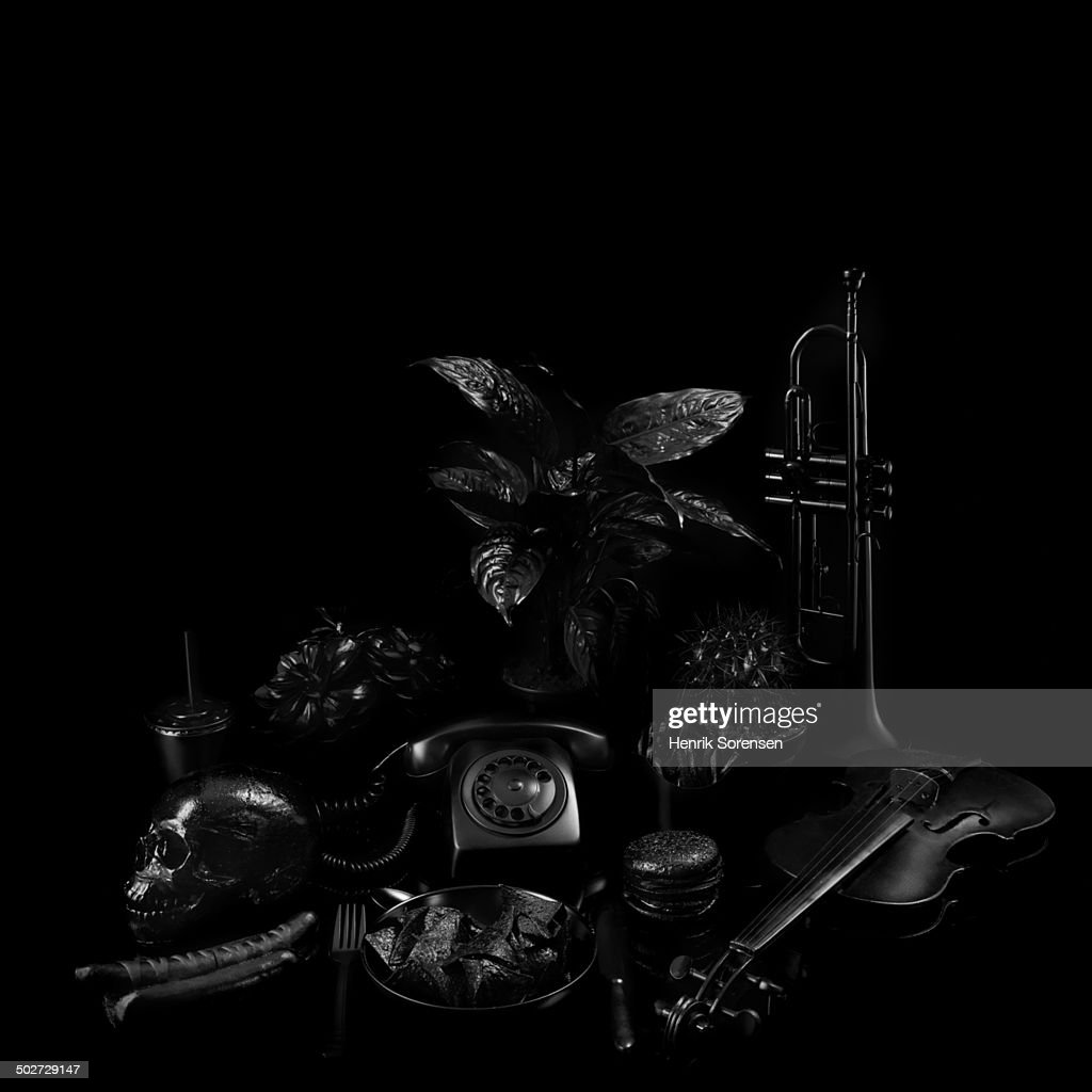 Various objects on black backdrop