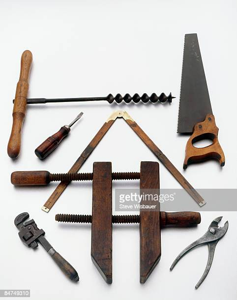 Various old used antique building tools arranged