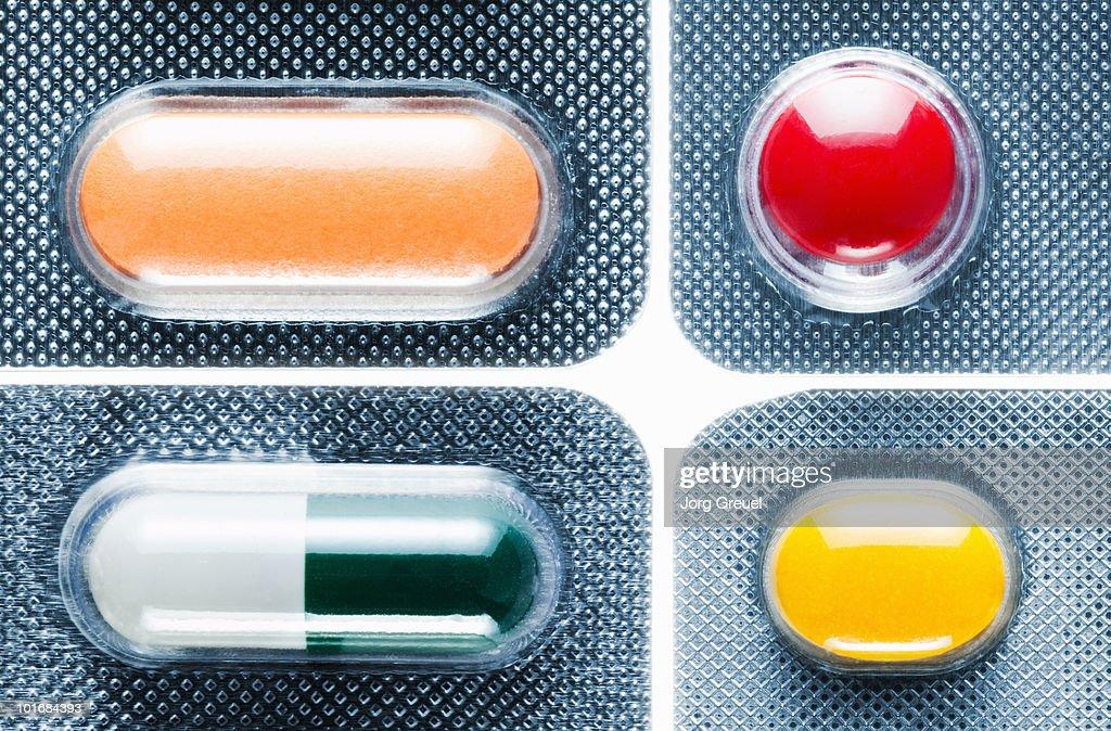 Various pills in blister packs : Stock Photo