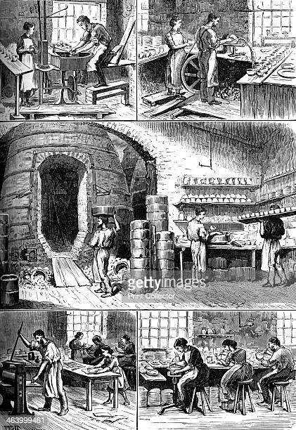 Various pottery processes c1880 The thrower the turner the biscuit oven printing and ornamenting A print from Great Industries of Great Britain...
