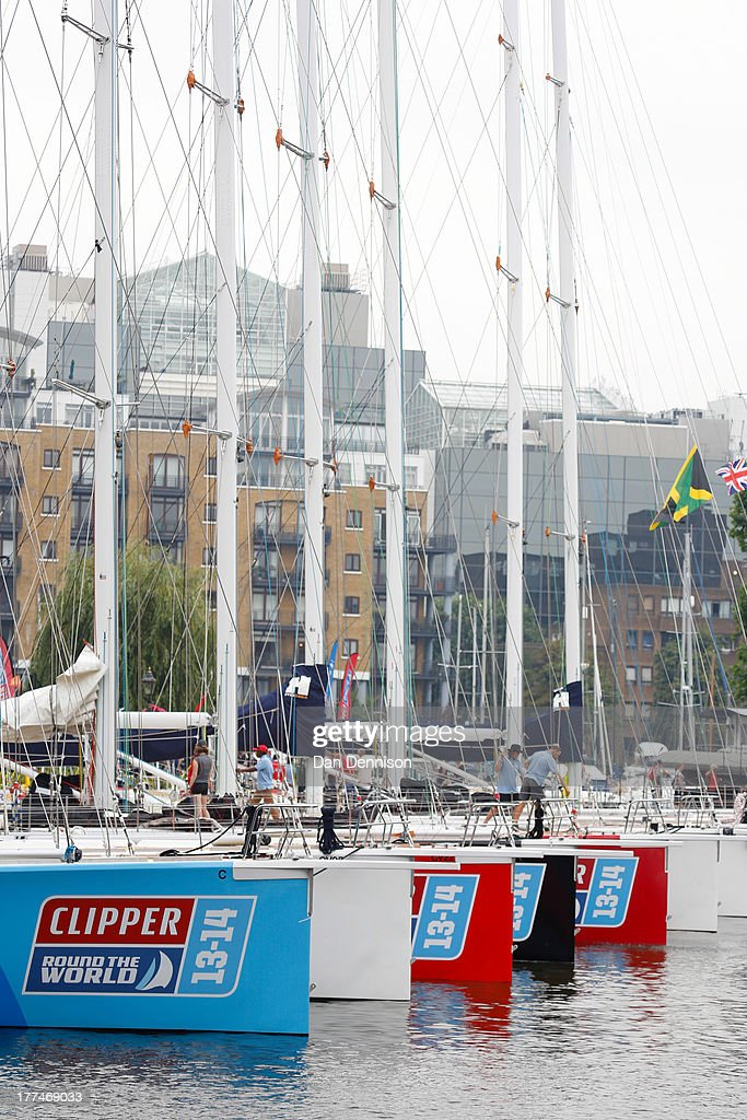 Various race yachts competing in The Clipper 2013-14 Round The World Yacht Race, as moored in St Katherine's Dock, east London on August 23, 2013. The 40,000 mile, 8-leg course begins on September 1 and will visit six continents, taking eleven months to complete.