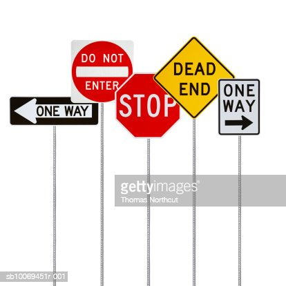 Various road signs on white background