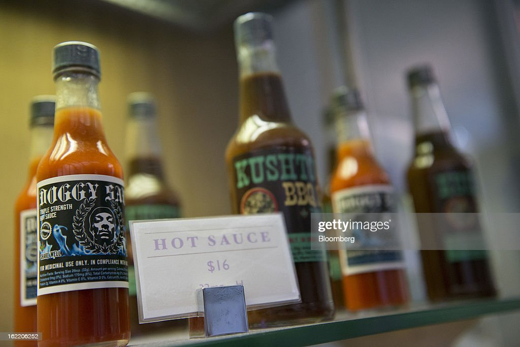 Various sauces made with medical marijuana sit on display at Palliative Health Center in San Jose, California, U.S., on Thursday, Feb. 7, 2013. The dispensary, which provides monthly classes on cooking with marijuana-infused products, draws tech workers from employers including Adobe Systems Inc., EBay Inc., Cisco Systems Inc., Hewlett-Packard Co. and Applied Materials Inc., according to Ernie Arreola, the assistant manager. Photographer: David Paul Morris/Bloomberg via Getty Images