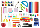 A white background featuring an assortment of colorful icons of school supplies. The supplies include a staple remover, a red apple, watercolor paints, a drawing compass, glue, scissors, a ruler, a ca