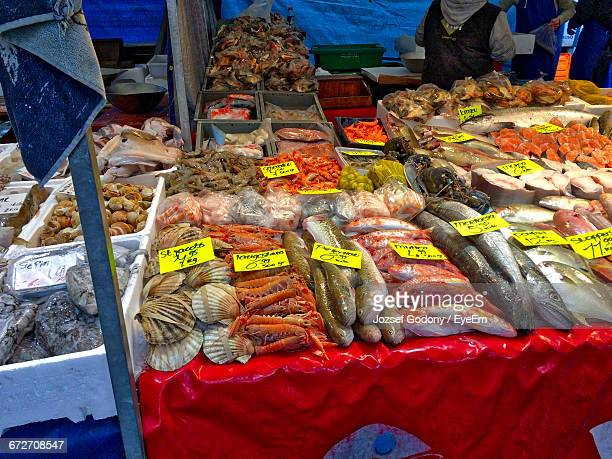 Various Seafood For Sale At Market Stall