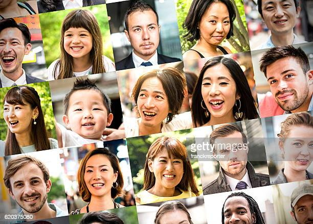 various size of mixed race characters collage