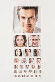 Various size portrait prints like eye test chart