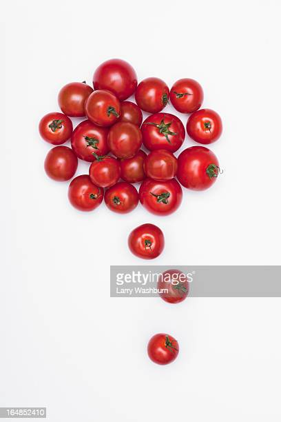Various sizes of tomatoes arranged into the shape of a thought bubble
