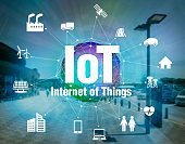 various smart devices and mesh network, internet of things, wireless sensor network, abstract image visual