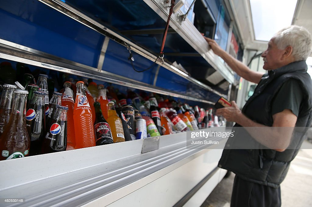 Various sottles of soda are displayed in a food truck's cooler on July 22, 2014 in San Francisco, California. The San Francisco Board of Supervisors will vote on Tuesday to place a measure on the November ballot for a 2-cents-per-ounce soda tax. If the measure passes in the November election, tax proceeds would help finance nutrition, health, disease prevention and recreation programs.