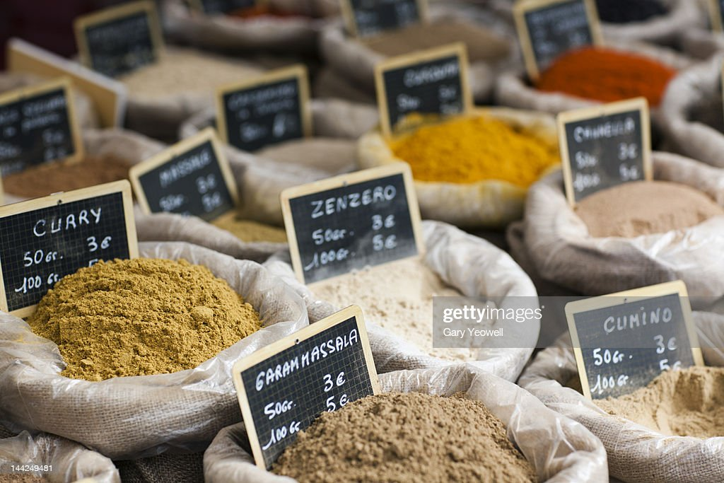 Various spices displayed at a market : Stock Photo