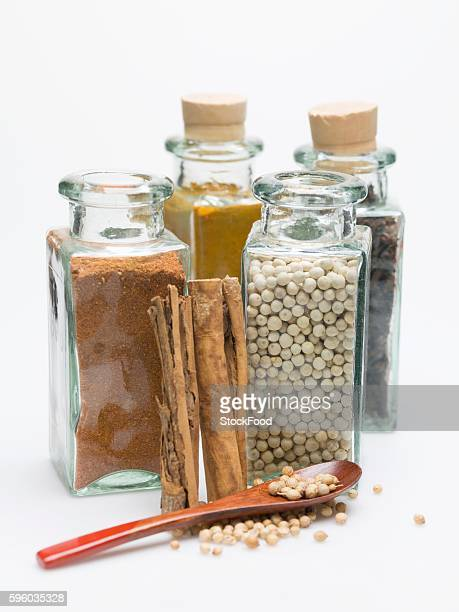 Various spices in spice bottles and cinnamon sticks