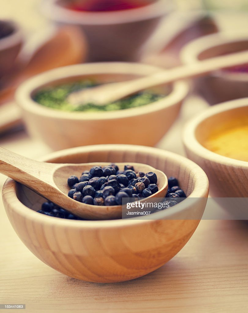 Various spices in wooden bowl : Stock Photo