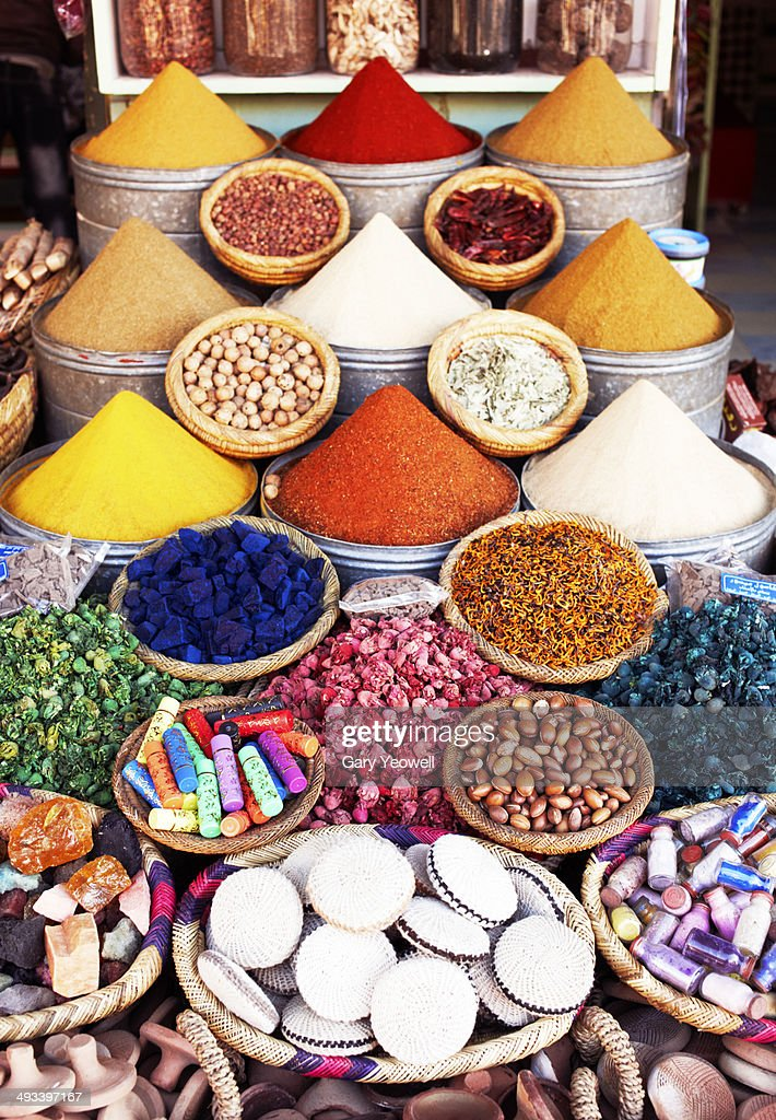 Various spices on display in the Souk