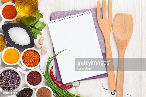 Various spices on white wooden background : Stock Photo