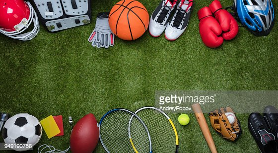 Various Sport Equipments On Grass : Stock Photo