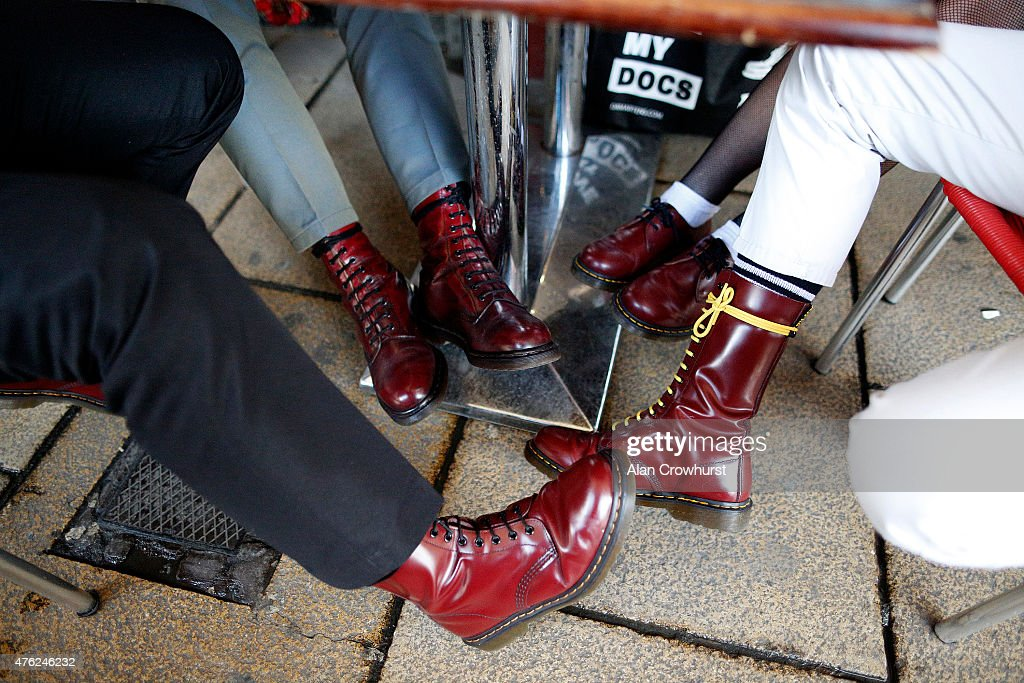 Various styles of Dr Martens footwear are worn during The Great Skinhead Reunion on June 07 2015 in Brighton England The reunion of skinheads is now...